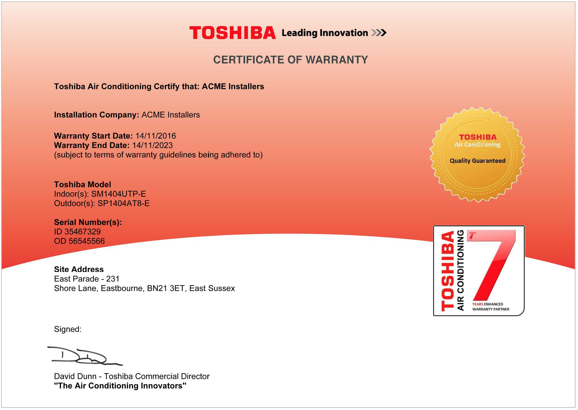 warranty commissioning certificate conditioning breaks platform ground air bsee toshiba copy